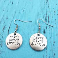 never give up earrings,Silver handmade ear stud,Fashion charm jewelry pendants
