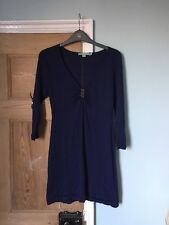 Boden Navy Blue 100% Wool Jumper Tunic Short Dress Size 6 Button Embellishment