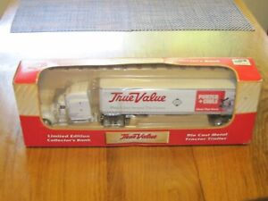 VTG PORTER CABLE TRUE VALUE PETERBILT TRACTOR TRAILER 1/64 DIECAST NEW BANK