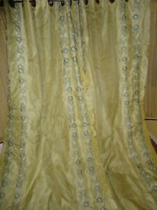 EMBROIDERED SILK BOHEMIAN EMBROIDERED GREEN FLORAL (2PC) CURTAIN PANELS 50X109