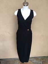 Ann Tjian For Kenar Black Wrap Single Button Dress Cocktail Sleeveless Size 6