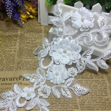 White Fabric Beaded Lace Applique Floral Lace Patch for Wedding Dress 14*35cm