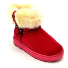 Baby Toddler Girl Winter SlipOn Boots Size 32 Red Faux Fur Suede Buckle NEW