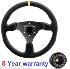 SUEDE DRIFT RALLY DRIFTING SPORTS STEERING WHEEL AND BOSS KIT HUB FIT ALL TOYOTA