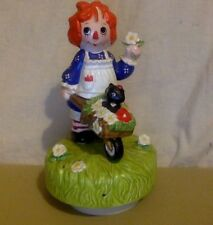 Vintage Music Box. Schmid. Raggedy Ann. Wheel Barrow, Cat, Flowers. #432/10,000