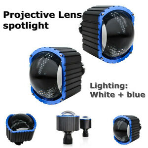 16000LM LED Car High Beam Projective Lens Waterproof Spotlight Set White+Blue