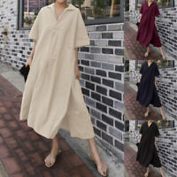 ZANZEA Women Short Sleeve V Neck Casual Long Shirt Dress Split Hem Midi Dress