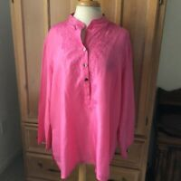 Chico's pink silk embroidered tunic Size 16