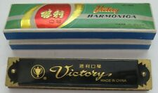 Victory Harmonica Uc 066 Vintage 32 Hole Black Gold Red with Original Box
