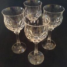 MIKASA Normandy 4 wine glasses, crystal tulip shaped bowl vertical cuts