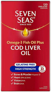 Seven Seas Cod Liver Oil Gelatine Free 120 Capsules EXP.: 05/23 FREE UK POSTAGE!