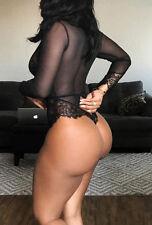 Black Hot Women Sexy Lace Long Sleeve Bodysuit Lingerie Bodycon Romper Jumpsuit