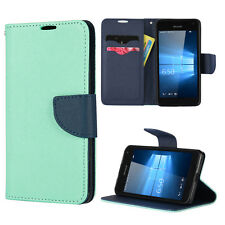 For Nokia Lumia 650 - Teal / Navy Blue Credit Card ID Wallet Pouch Folio Case