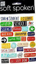 Soft Spoken Embellishments - I LOVE SCHOOL - Science, English, Words, Stickers