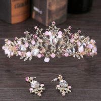 Pink Gold Pearl Bridal Crowns Handmade Tiara Bride Headband Crystal Wedding O8A6