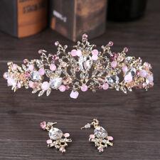 Pink Gold Pearl Bridal Crowns Handmade Tiara Bride Headband Crystal Wedding O8A6