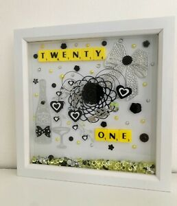 beautiful, Yellow & white deep box picture frame gift for 21st birthday female