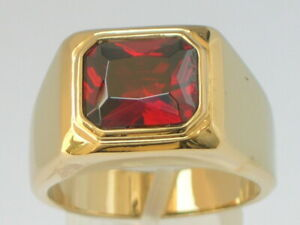 11 X 9 mm Solitaire January Red Garnet CZ Birthstone Men Ring Size 12