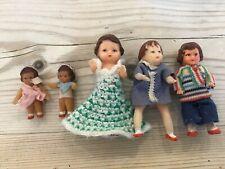 Antique vintage miniature dolls,Five rubber tiny dolls house toy dolls.