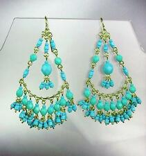 GORGEOUS Turquoise Crystals Peruvian Beads Gold Chandelier Dangle Earrings B25-1