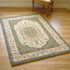 Large Murat Traditional Rug Green Beige Cream 0.8m X 1.5m 2'6 x 5' approx