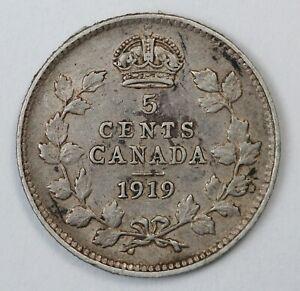 1919 Canadian / Canada 5 Cent Silver Half Dime - VF Very Fine Condition