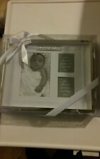 baby picture frame BLESS THIS CHILD 3 photos..silver..by baby essentials NIB