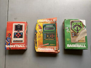 VINTAGE MATTEL ELECTRONICS Handheld Arcade Video Games Basket, Foot And Baseball