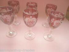 17314 6x Schnapsglas mundgeblasen geschliffen Egermann Stil style shot glas cut