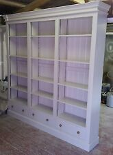 Painted Triple Bookcase over three drawers