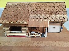 Vintage Primitive Hand Made Early American Wood Log Cabin Miniature Medium Model