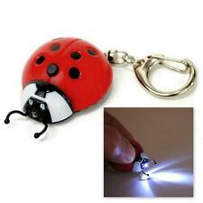 LED LIGHT KEYCHAIN LADYBUG Red Lady Bug Beetle Animal Keychain Key Chain Ri