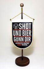 Jägermeister Wappen Wimpel Werbung Reklame Shot und Bier Gönn Dir Tisch Fane