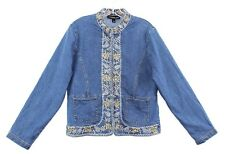 Monterey Bay Women's Jean Jacket Mandarin Color Embroidered Paisley Floral 12