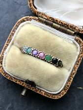 Antique Vintage Acrostic Dearest Ring Multi Stone Yellow Gold