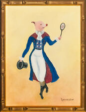 Piglet Tennis Anyone? Original Oil on Canvas by Bobby Livingston