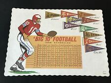 1968 Big Ten Schedule Ohio State Football NTL CHAMPS Placemat Original Vintage