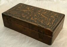 ANTIQUE 19TH. CENTURY WOOD-CARVED HINGED BOX PENNSYLVANIA DUTCH STYLE WITH KEY
