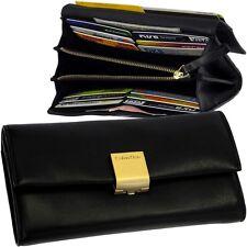 Calvin Klein Damen-Geldbörse Vintage Portemonnaie Leder Geldbeutel ck Clutch Neu