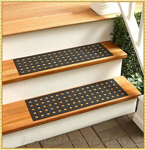 RUBBER STAIR STEP TREADS MATS BASKETWEAVE DESIGN OUTDOOR PORCH TRACTION ~CHOICES