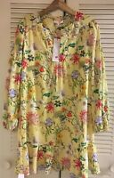 NWT$398 Parker New York Yellow Floral Print Ruffle Long Sleeve Mini Dress Silk S