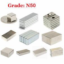 1-100pcs N50 Block Magnets Neodymium Strong Craft Magnet Multi-size