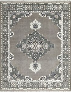 Traditional Hand Knotted Oriental Design, Greyish Brown Rug, 8x10 -7161