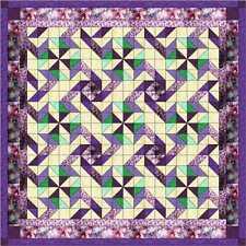 Quilt Kit/Pinwheel Dance/Purples/Pre-cut Fabrics Ready To Sew/Queen