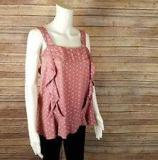 Matilda Jane Clam Bake Top L Polka Dot Ruffle Blouse Pink Tank Boutique New Tags