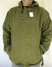 Mens Boho Plain Cotton Lined SMOCK Festival Hoodie Pullover JACKET FROM NEPAL