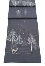 Winter Woods Embroidered Christmas Table Runner 35cm X 190cm