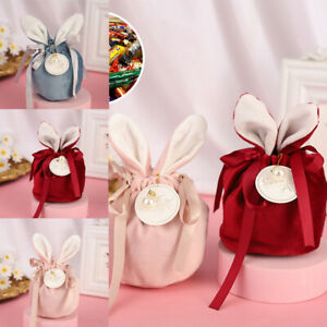 10pc Cute Gift Packing BagsCandy Bags Easter Rabbit Bunny Ears Jewelry Organizer