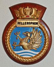 Heavy cast metal and wood HMS Bellerophon plaque crest Royal Navy naval