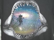 Hang Ten Shark Jaws Palm Tree Stars Universe Black T Shirt Tee Size M Medium